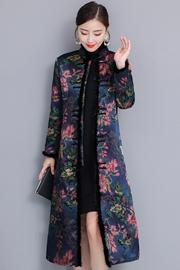 2018新款旗袍冬长袖加厚保暖真丝中长款优雅改良夹棉妈妈旗袍礼服