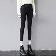 實拍加絨加厚牛仔褲女小腳褲高腰彈力緊身顯瘦冬季保暖外穿鉛筆褲