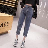 【实拍】牛仔裤女裤宽松2020新款高腰直筒显瘦黑色春夏老爹萝卜裤