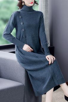羊毛針織連衣裙子女秋冬2020新款高領長袖毛衣裙過膝長裙