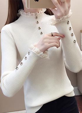 半高领毛衣打底衫内搭2020年女新款爆款蕾丝上衣秋冬季针织衫洋气