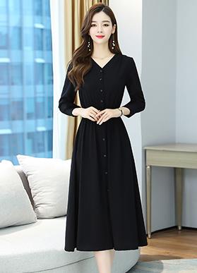 实拍9139黑色修身长袖秋季连衣裙女装新款v领收腰显瘦气质a字裙子
