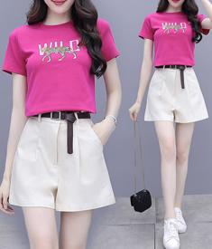 小个子搭配显高套装女2020年夏季新款休闲时尚洋气减龄短裤两件套