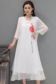 实拍2390#2019年复古刺绣连衣裙+七分袖防晒外披套装