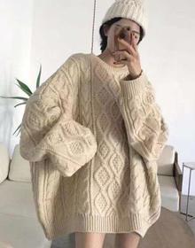 2020秋装新款韩版中长款套头麻花毛衣女宽松百搭上衣chic甜美线衣