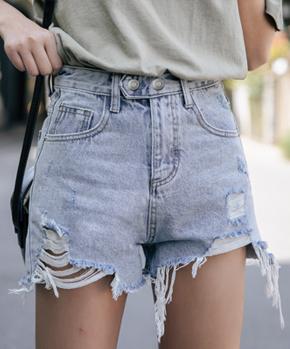1302#实拍有视频新款百搭修身显瘦高腰磨破显腿长牛仔短裤热裤女
