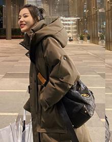 官网图新款韩版加厚面包服2021年冬季外套工装羽绒棉服过膝棉袄女