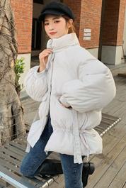 实拍冬装新款韩版中长款灯笼袖杏色羽绒棉衣女加厚保暖小棉袄外套