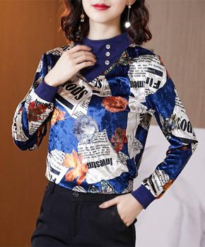 纽扣早春金丝绒上衣女轻熟2020新款洋气半高领百搭打底长袖T恤女
