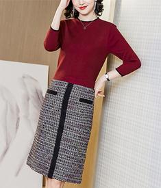 實拍 針織連衣裙女2020春季新款假兩件高腰修身包臀開叉一步裙