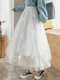 超仙百搭網紗半身裙秋冬女中長款a字裙高腰冬天配毛衣仙女紗裙子