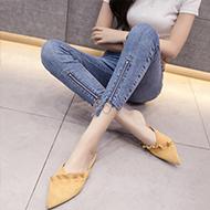 【实拍】2020春夏新款牛仔裤女高腰弹力九分裤不规则裤小脚裤子