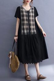 实拍现货2021年夏季新款格子拼接韩版棉麻大码短袖连衣裙女外贸款