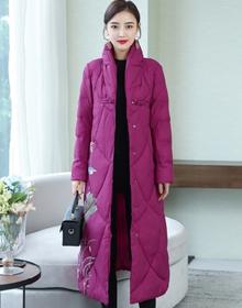 中国风棉衣女2019冬季新款立领印花显瘦中长款棉服盘扣民族风外套