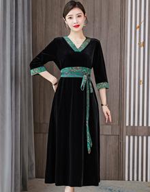 实拍真丝高端新款裙子奢华印花大码春秋腰带高贵高级金丝绒连衣裙
