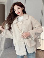 秋冬2020新款韩版宽松仿羊羔毛森系外套百搭女气质休闲上衣+包包