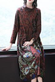 妈妈秋装时尚印花中长款打底裙加肥加大码中年女秋冬气质显瘦裙子