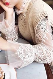 秋季新款女士薄款钩花镂空内搭套头网纱上衣长袖立领蕾丝衫打底衫