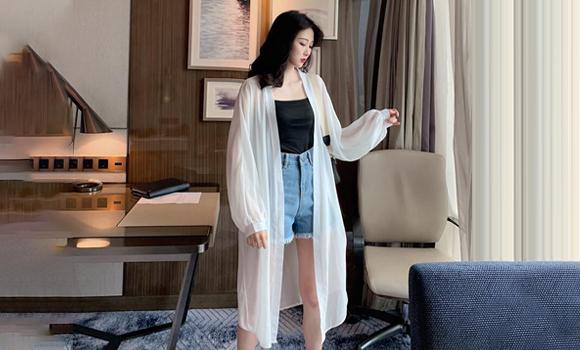 2020新款防晒衣女中长款宽松韩版夏季很仙的时尚洋气雪纺开衫