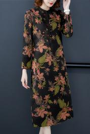2020春裝新款新時尚桑蠶絲印花長袖香云紗氣質繡花真絲連衣裙