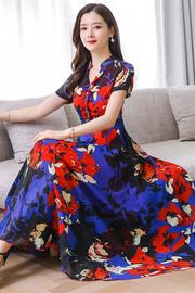 翠花雪纺连衣裙夏季中长款短袖立领花色大摆裙长裙.