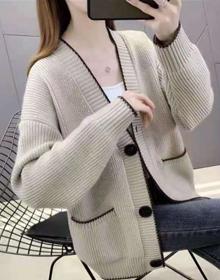 春装新款女韩版宽松小香风针织开衫春秋单排扣百搭毛衣外套