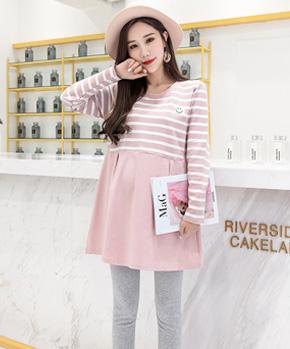970实拍2018秋装孕妇条纹上衣韩版孕妇长袖中长款卫衣连衣裙套装