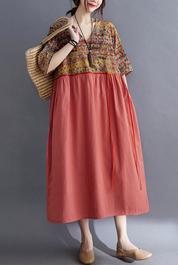 8305#实拍现货2021夏季新款宽松大码女装文艺复古印花系带连衣裙