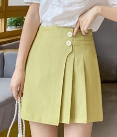 實拍 半身裙女2020夏新款學生a字裙高腰顯瘦不規則百褶裙子短裙褲
