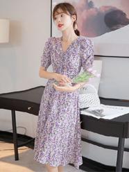 花裙子2020年新款夏天女神范收腰显瘦气质长裙紫色碎花连衣裙女夏