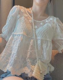 甜美蕾丝娃娃衫泡泡袖镂空洋气上衣韩版白色衬衫女夏季