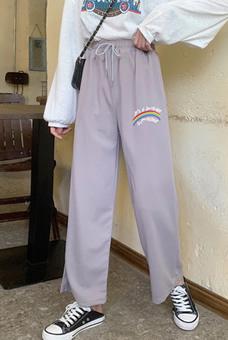 实拍 ~秋装 阔腿裤运动裤宽松百搭学生显瘦潮嘻哈伦休闲长裤