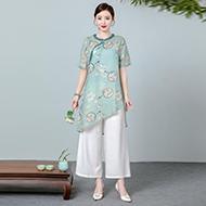 原创设计高端纯苎麻上衣宽松中长款复古立领印花衬衫套装女