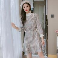 實拍:1859#2019新款長袖秋季針織連衣裙秋冬女裝潮流行網紅裙