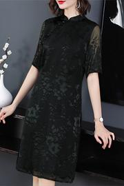重磅真丝连衣裙女2019夏新款改良旗袍杭州桑蚕丝修身裙子钩花纯色