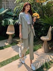 实拍现货957#闺蜜小西装套装女2020新款春夏显高韩版洋气两件套