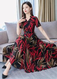 夏装裙子2019新款气质流行女装时尚修身显瘦短袖雪纺连衣裙中长裙