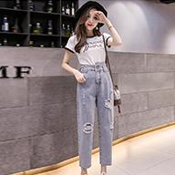 【实拍】春夏季韩版新款学生哈伦裤显瘦束脚破洞九分裤牛仔裤女薄