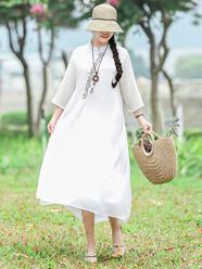 实拍2686#2020年秋季新款天丝麻刺绣复古中国风七分袖中长款连衣