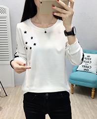 9008#2018秋冬装韩版新款长袖加厚圆领加绒女装T恤实拍