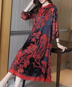 裙子2021年新款春装宽松a字裙过年喜庆女装真丝提花红色连衣裙