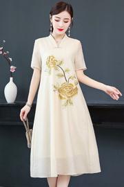 实拍汉服新款民族风女装复古刺绣唐装改良汉服女气质中国风连衣裙