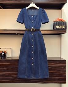 实拍大码女装牛仔裙连衣裙2021中长款夏季时尚显瘦A字中长款裙