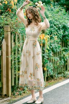 实拍 2020春季新款法式宫廷复古绣花仙女长袖连衣裙中长款桔梗裙
