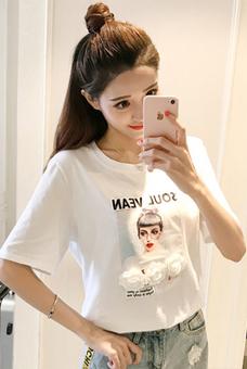 实拍大量现货049#2019春夏新款圆领韩国烫画贴花T恤短袖上衣女