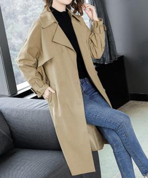 风衣女2018秋季新款中长款韩版双排扣系带休闲显瘦气质女士外套潮