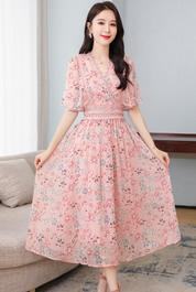 夏裝2020新款女裝雪紡碎花連衣裙女夏氣質顯瘦長裙子仙女超仙森系