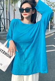 实拍D&ONE2021夏季新款后背小心机露背抽绳设计感长袖针织衫女