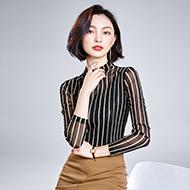 1218# (实拍) 新款韩版高领条纹烫钻修身显瘦网纱打底衫女