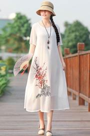 实拍8277#2020年夏季新款中国风刺绣中长款大码连衣裙